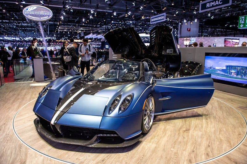 Pagani Huayra Roadster is displayed during the second press day at the 89th Geneva International Motor Show on March 6, 2019 in Geneva, Switzerland.