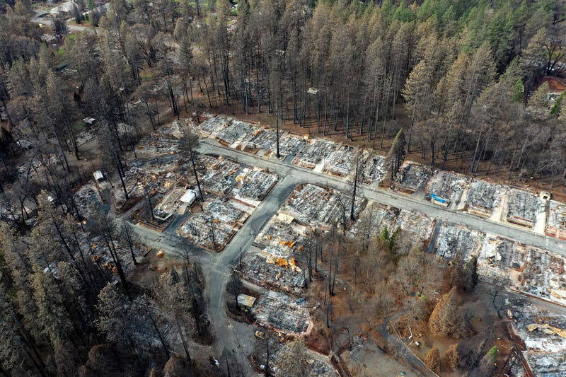 An aerial view of homes destroyed by the Camp Fire on February 11, 2019 in Paradise, California.