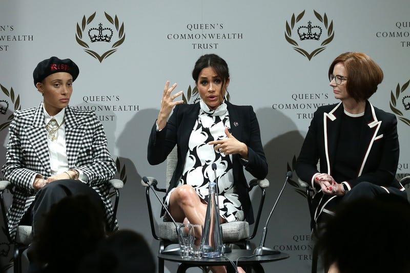 meghan markle duchess of sussex speaks at international women's day panel organized by queen's commonwealth trustt