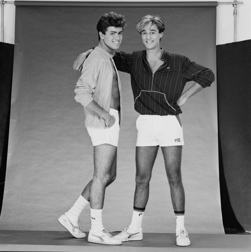 British singer-songwriters George Michael (1963 - 2016) and Andrew Ridgeley of pop duo Wham!, UK, 8th November 1983.