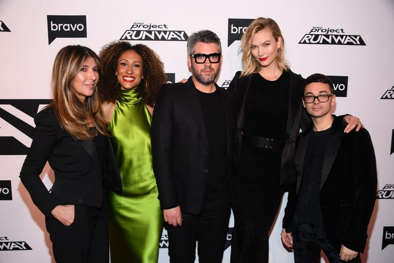 "Nina Garcia, Elaine Welteroth, Brandon Maxwell, Karlie Kloss and Christian Siriano attend Bravo's ""Project Runway"" New York Premiere at Vandal on March 07, 2019"