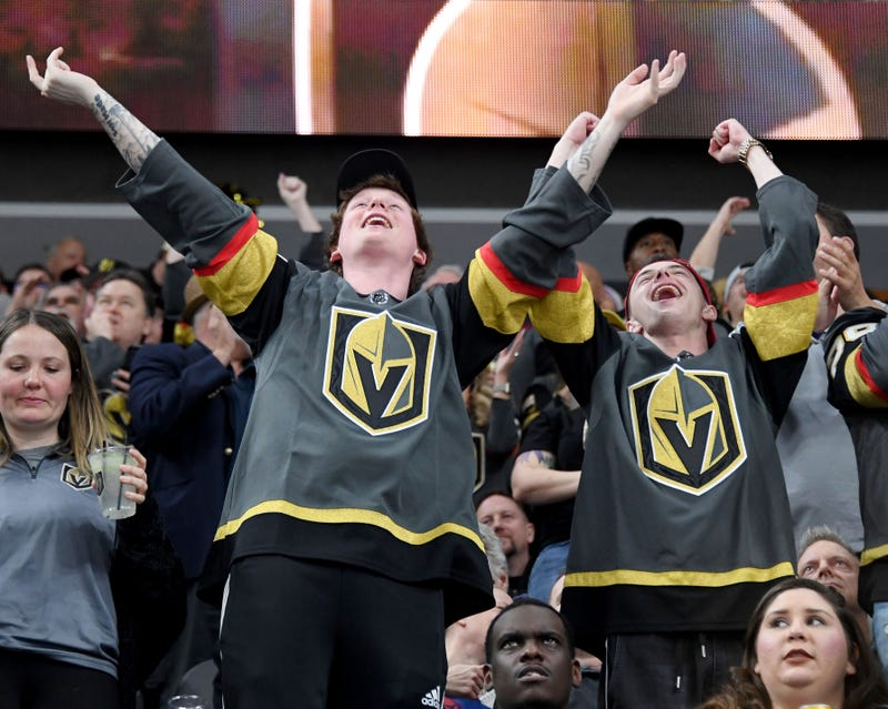 : Vegas Golden Knights fans celebrate after a second-period short-handed goal by Tomas Nosek #92 against the Winnipeg Jets at T-Mobile Arena on March 21, 2019 in Las Vegas, Nevada.