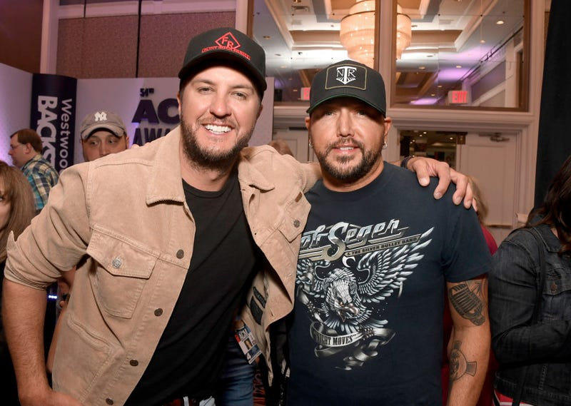 Luke Bryan and Jason Aldean attend the 54th Academy Of Country Music Awards Cumulus/Westwood One Radio Remotes on April 05, 2019 in Las Vegas, Nevada