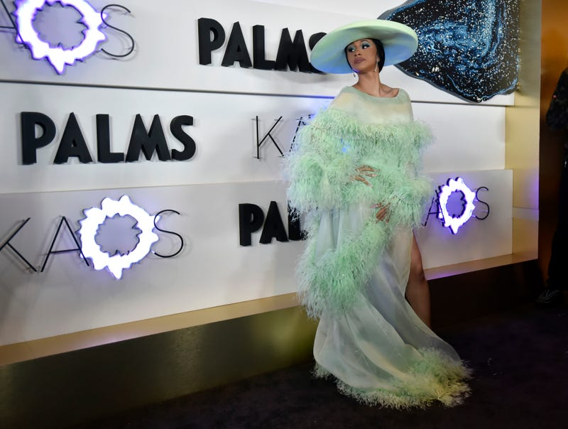 cardi b arrives poses at the opening of kaos dayclub and nightclub in las vegas