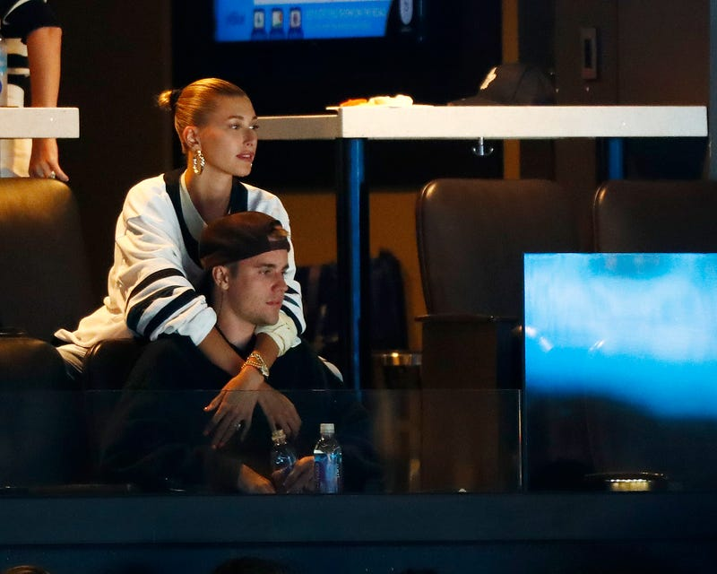 justin bieber and hailey baldwin watching toronto maple leafs against the boston bruins
