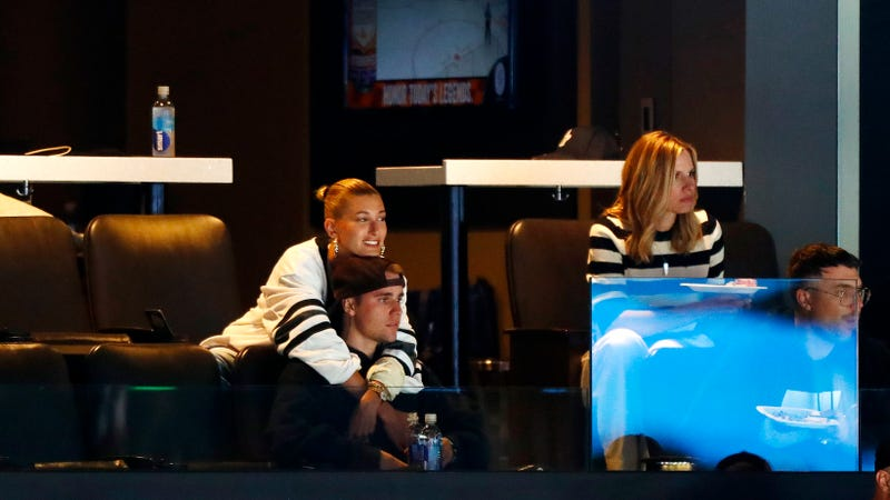 Justin Bieber and wife Hailey Rhode Bieber watch Game Seven of the Eastern Conference First Round during the 2019 NHL Stanley Cup Playoffs