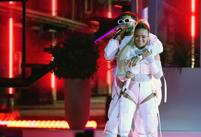 Anuel AA (L) and Karol G perform during the 2019 Billboard Latin Music Awards at the Mandalay Bay Events Center on April 25, 2019 in Las Vegas, Nevada.