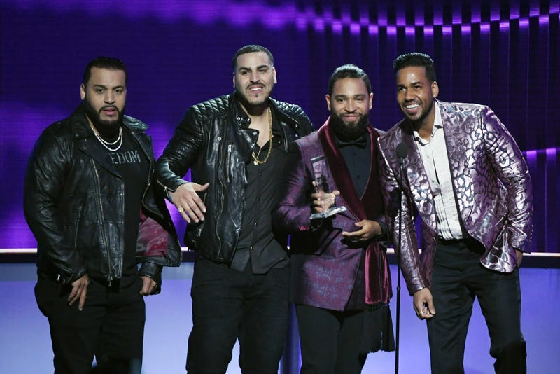 Lenny Santos, Max Santos, Henry Santos and Romeo Santos of Aventura accept the Tropical Artist of the Year, Duo or Group award during the 2019 Billboard Latin Music Awards at the Mandalay Bay Events Center on April 25, 2019 in Las Vegas, Nevada.