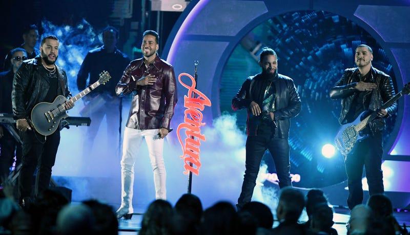 Lenny Santos, Romeo Santos, Henry Santos and Max Santos of Aventura perform during the 2019 Billboard Latin Music Awards at the Mandalay Bay Events Center on April 25, 2019 in Las Vegas, Nevada.