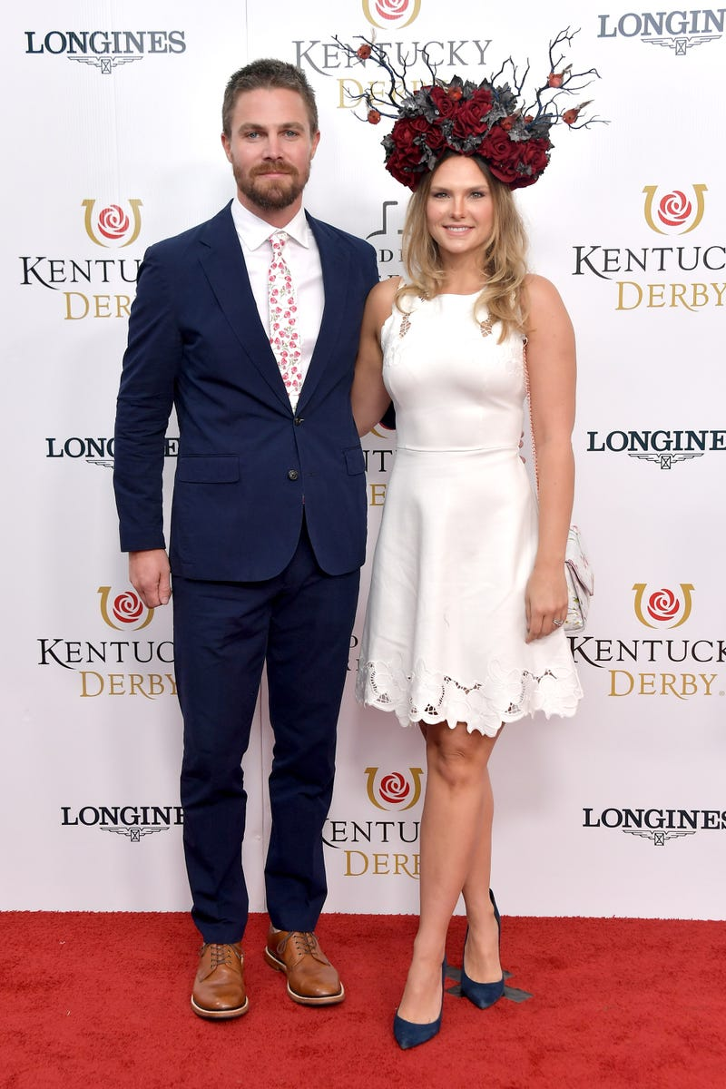 Stephen Amell and Cassandra Jean Amell attend 145th Kentucky Derby in 2019.