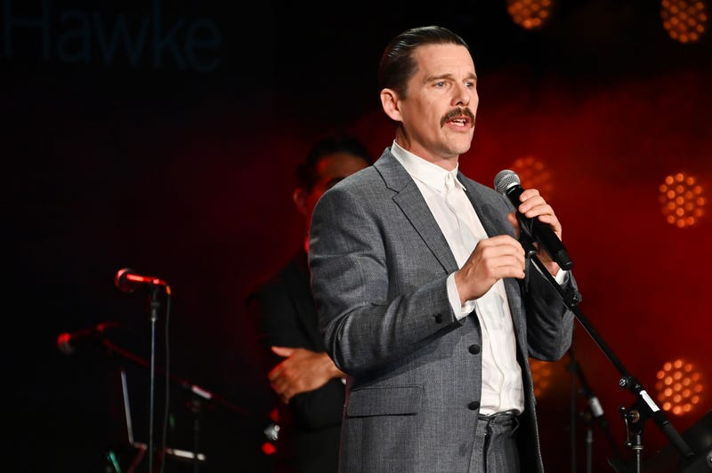 ethan hawke rocks a mustache and speaks at the 2019 bam gala in new york