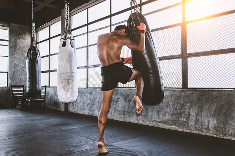 Muay thai fighter training