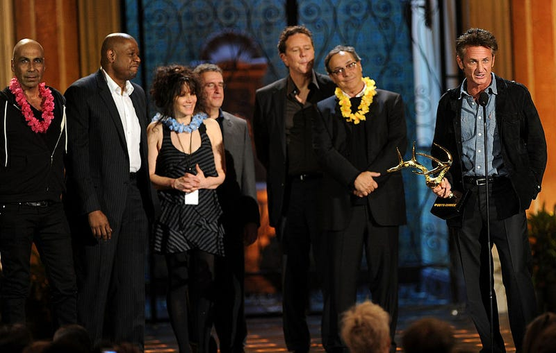 """(L-R) Actor Taylor Negron, actor Forest Whitaker, director Amy Heckerling, actor Brian Backer, actor Judge Reinhold, actor Robert Romanus and actor Sean Penn accept the Guy Movie Hall of Fame award for """"Fast Times on Ridgemont High"""" onstage during Spike TV's 5th annual 2011 """"Guys Choice"""" Awards."""
