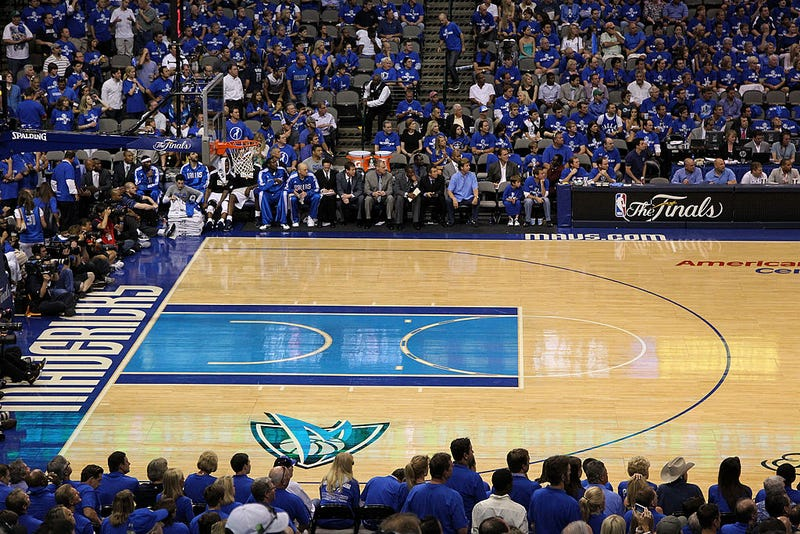 A detail of an empty court between the Dallas Mavericks and the Miami Heat in Game Four of the 2011 NBA Finals at American Airlines Center on June 7, 2011 in Dallas, Texas.