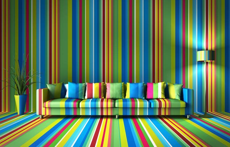 Colorful striped XXL sofa