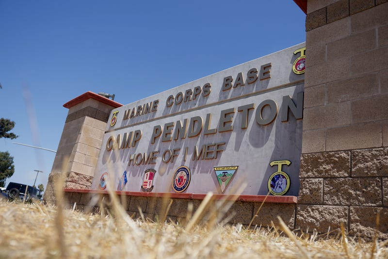View of the main entrance to Camp Pendleton on July 26, 2019 in Oceanside, California. Sixteen Marines were arrested at Camp Pendleton Thursday morning during battalion formation for various illegal activities ranging from human smuggling to drug-related offenses. (Photo by Sandy Huffaker/Getty Images)