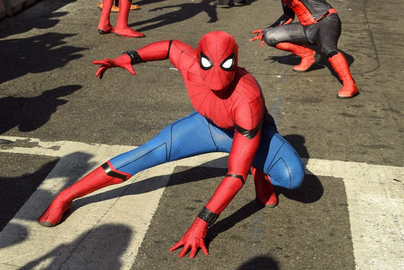 """Spider-man performers are seen at the premiere of Sony Pictures' """"Spider-Man Far From Home"""" at TCL Chinese Theatre on June 26, 2019"""