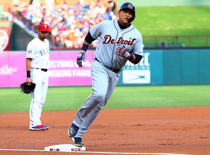 Miguel Cabrera rounds the bases after slugging a home run