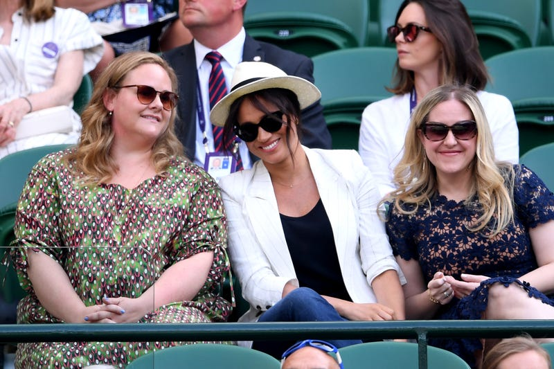 Meghan Markle, Duchess of Sussex watches on during the ladies' Singles Second round match between Serena Williams of The United States and Kaja Juvan of Slovenia during Day four of The Championships