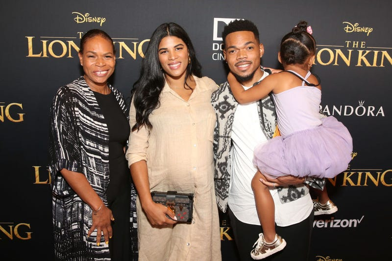 "Lisa Bennett, Kirsten Corley, Chance The Rapper, and Kensli Bennett attend the World Premiere of Disney's ""THE LION KING"" at the Dolby Theatre on July 09, 2019 in Hollywood, California"