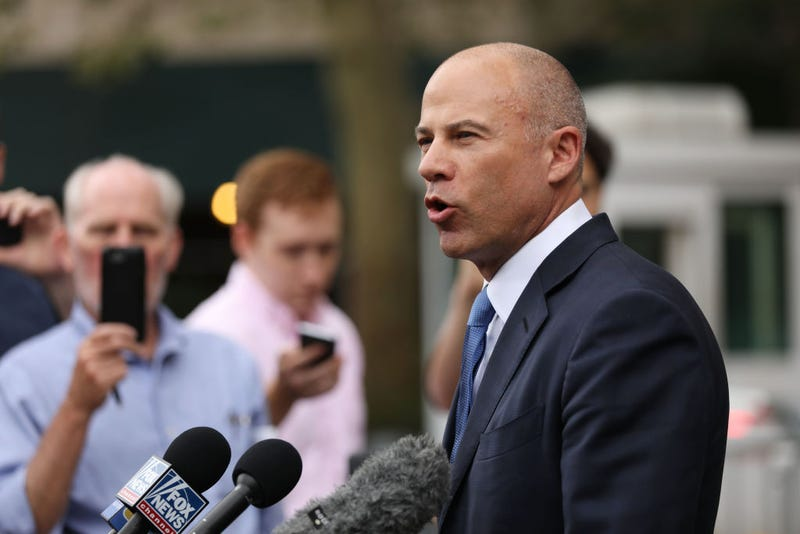 Michael Avenatti speaks to the media outside of a New York courthouse after a hearing in a case where he is accused of stealing $300,000 from a former client, adult-film actress Stormy Daniels on July 23, 2019 in New York City. The lawyer is scheduled to appear Wednesday in a Santa Ana court for his second trial in only a month.