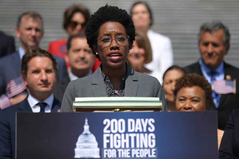 Rep. Lauren Underwood (D-IL) speaks while joining fellow House Democrats to mark the 200th day of the 116th Congress on the steps outside the U.S. Capitol July 25, 2019 in Washington, DC.