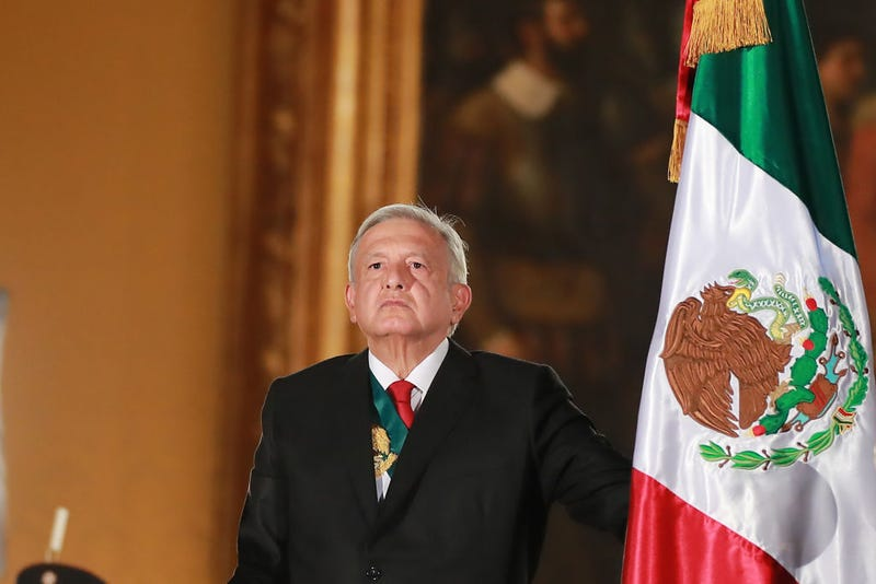 Andres Manuel Lopez Obrador, president of Mexico looks on during the celebrations of Mexico's Independence Day at Zocalo on September 15, 2019