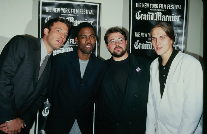 From left to right, Ben Affleck, Chris Rock, Kevin Smith and Jason Mewes promote 'Dogma' at the New York Film Festival in 1999.