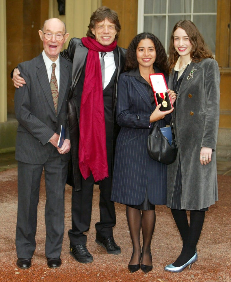 mick jagger celebrates his coronation with his grandfather joe and daughters elizabeth and karis