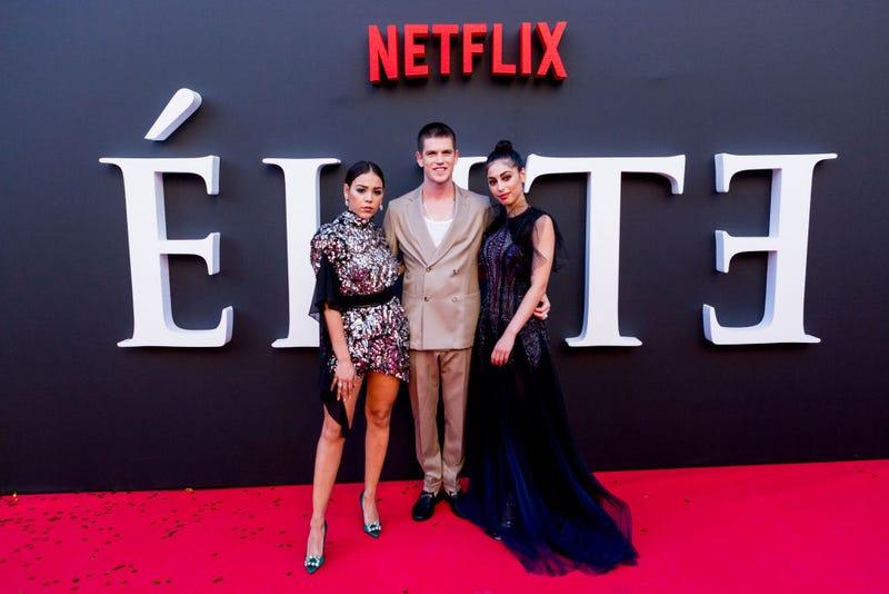 "Danna Paola, Miguel Bernadeau and Mina El Hammani attend ""Elite"" 2nd Season Premiere at Callao Cinema on August 29, 2019 in Madrid, Spain."