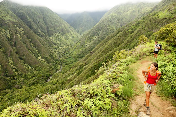 Waihee ridge hiking trail in Maui, Hawaii