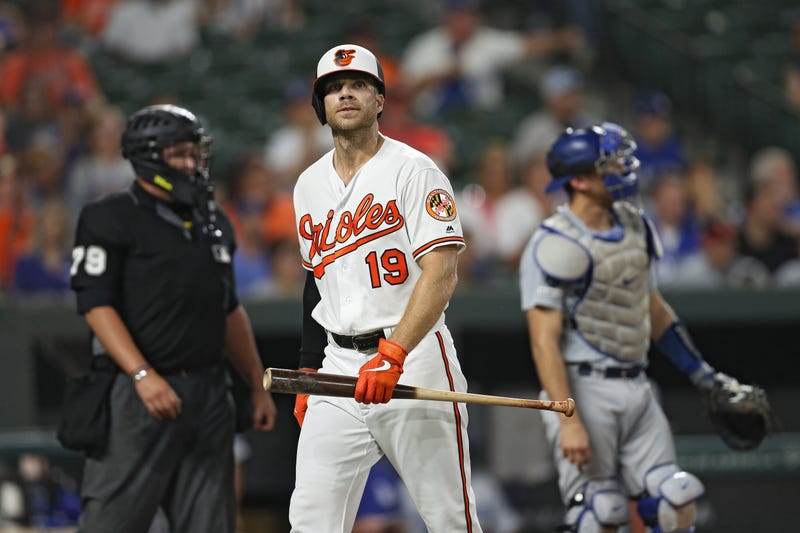 Chris Davis retreats to the dugout after striking out