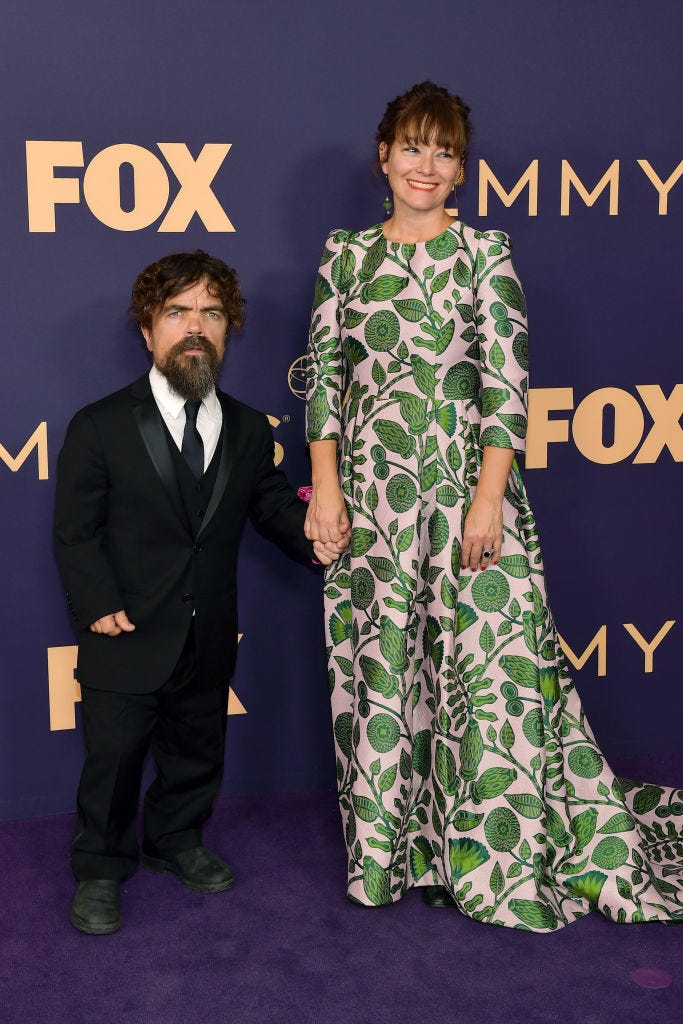 peter dinklage and erica schmidt on the red carpet arriving to the 2019 emmys