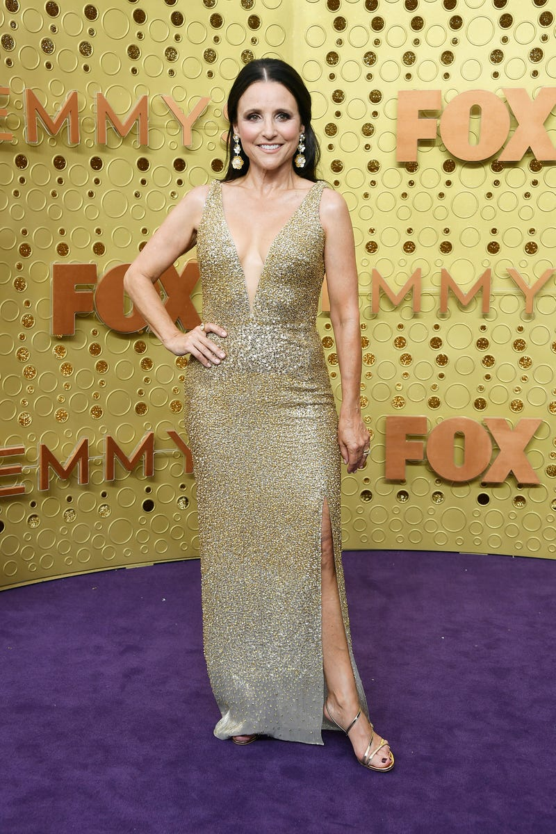 julia louis-dreyfus on the purple carpet at the 2019 emmy awards