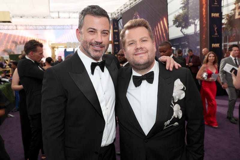 Jimmy Kimmel and James Corden walk the red carpet at the 2019 Emmy Awards