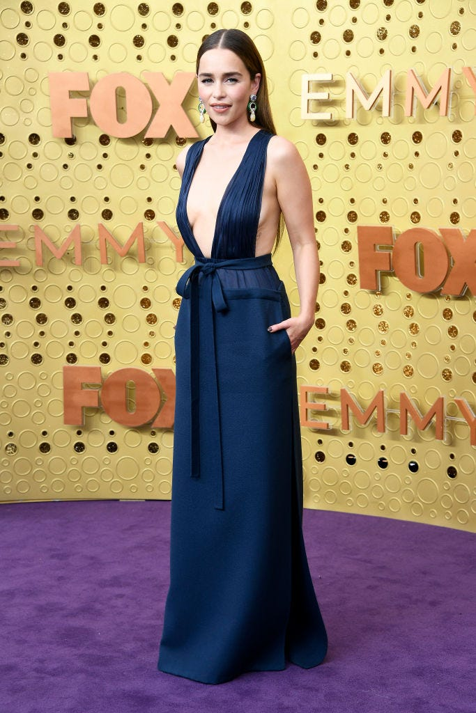emilia clarke on the purple carpet at the 2019 emmy awards