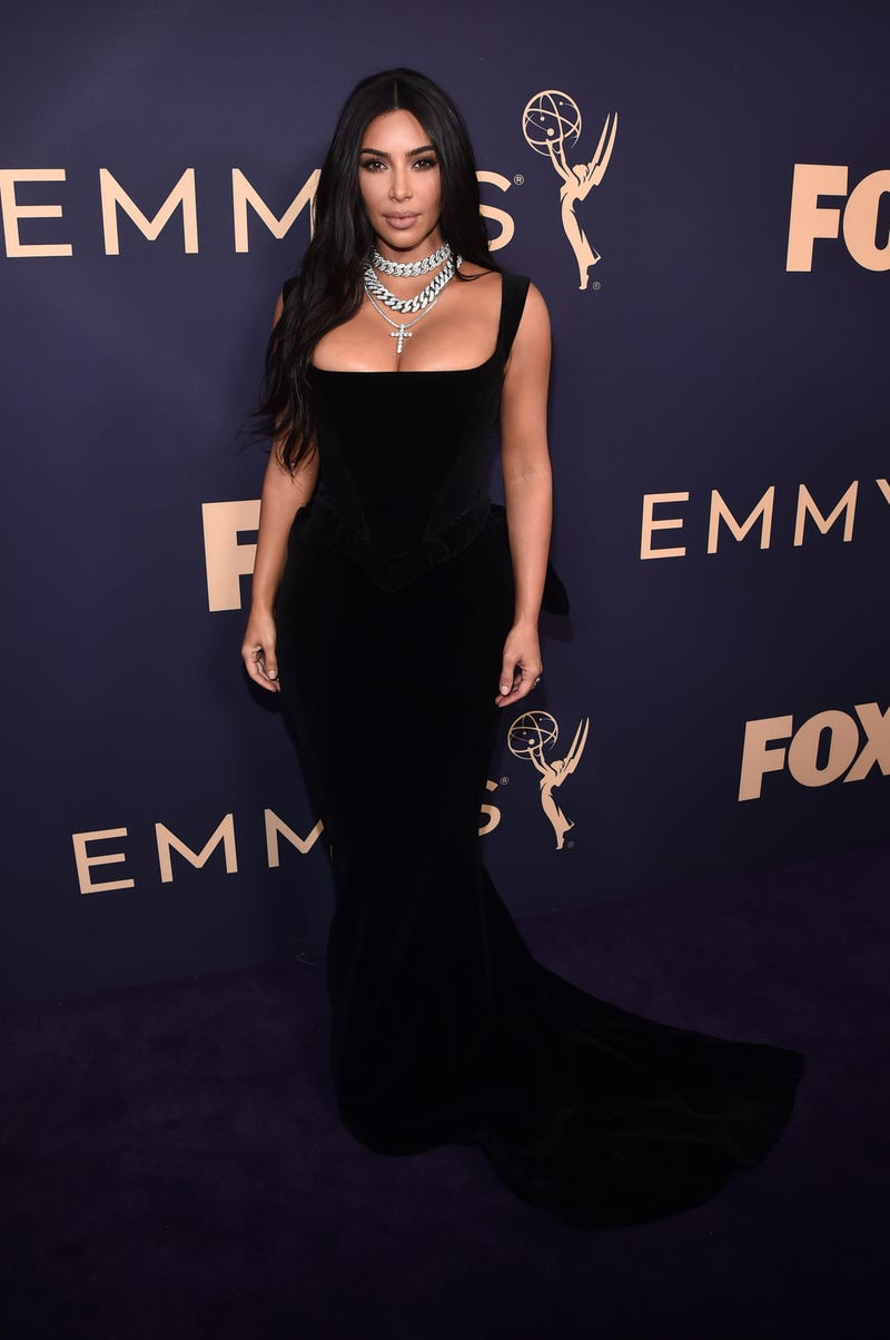 kim kardashian west on the purple carpet at the 2019 emmy awards