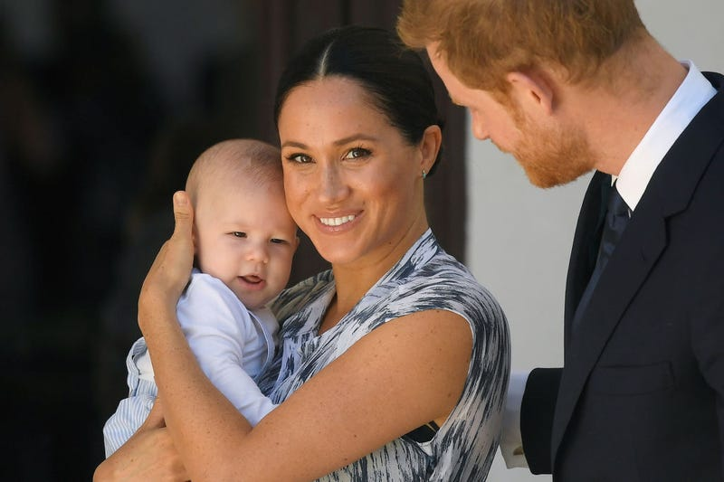 rince Harry, Duke of Sussex and Meghan, Duchess of Sussex and their baby son Archie Mountbatten-Windsor at a meeting with Archbishop Desmond Tutu at the Desmond & Leah Tutu Legacy Foundation during their royal tour of South Africa on September 25, 2019 in Cape Town, South Africa.