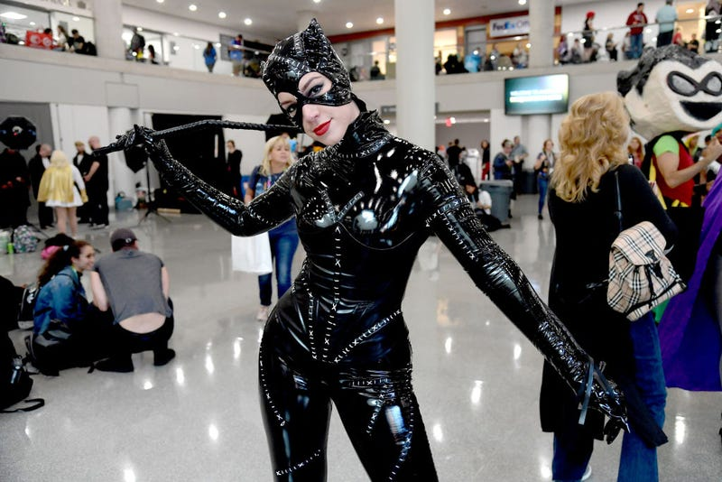 """A cosplayer dressed as """"Catwoman"""" attends New York Comic Con 2019 - Day 2 at Jacobs Javits Center on October 04, 2019 in New York City."""