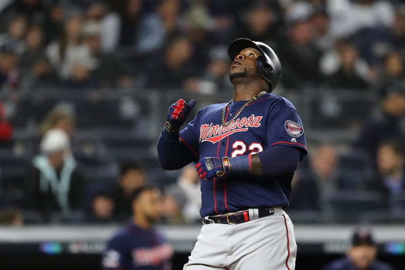Miguel Sano looks skyward after slugging a home run at Yankee Stadium