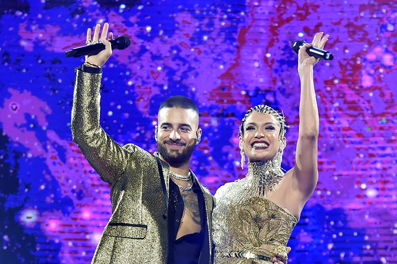 Maluma performs with special guest Jennifer Lopez at Madison Square Garden on October 04, 2019 in New York City.