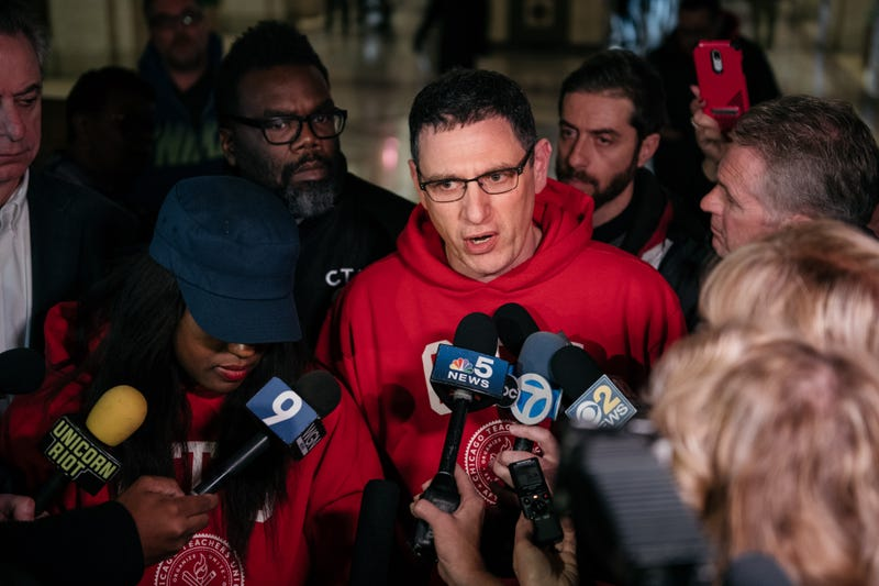 Chicago Teachers Union president Jesse Sharkey addresses the media at City Hall after the announcement of a deal to end an 11 day teachers strike on October 31, 2019 in Chicago, Illinois.