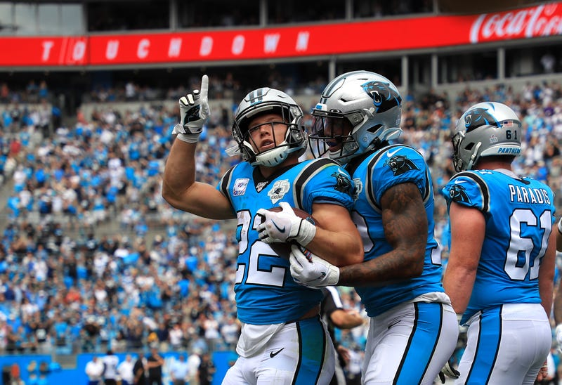 Christian McCaffrey scored three touchdowns for the Panthers Sunday.