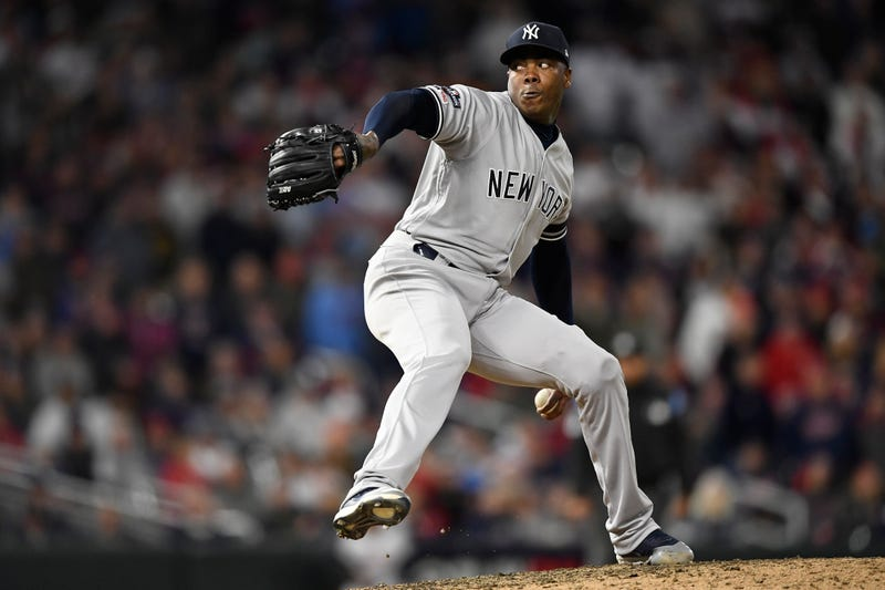 Ace closer Aroldis Chapman on the mound for New York