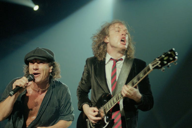 Brian Johnson and Angus Young