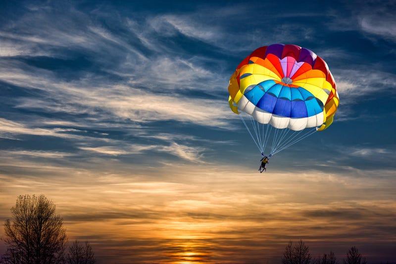 Skydiver Parachute Open