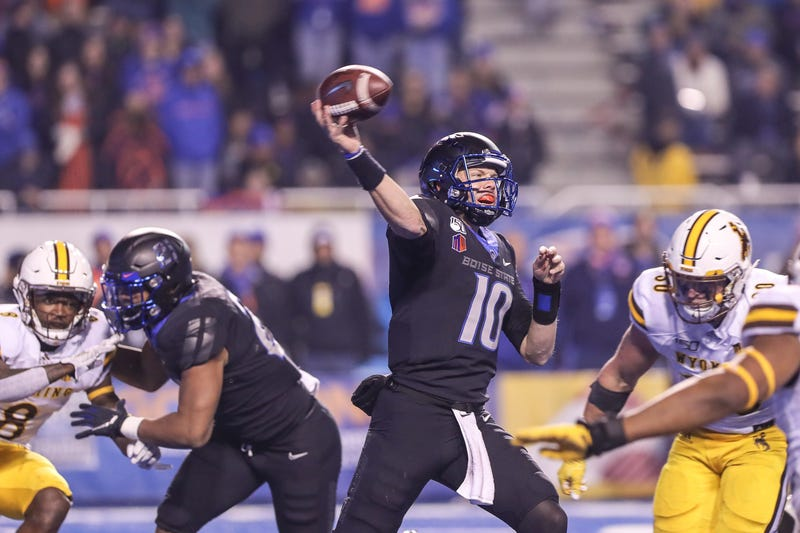 Quarterback Chase Cord #10 of the Boise State Broncos passes during the second half against the Wyoming Cowboys on November 9, 2019 at Albertsons Stadium in Boise, Idaho. Boise State won the game 20-17 in overtime.