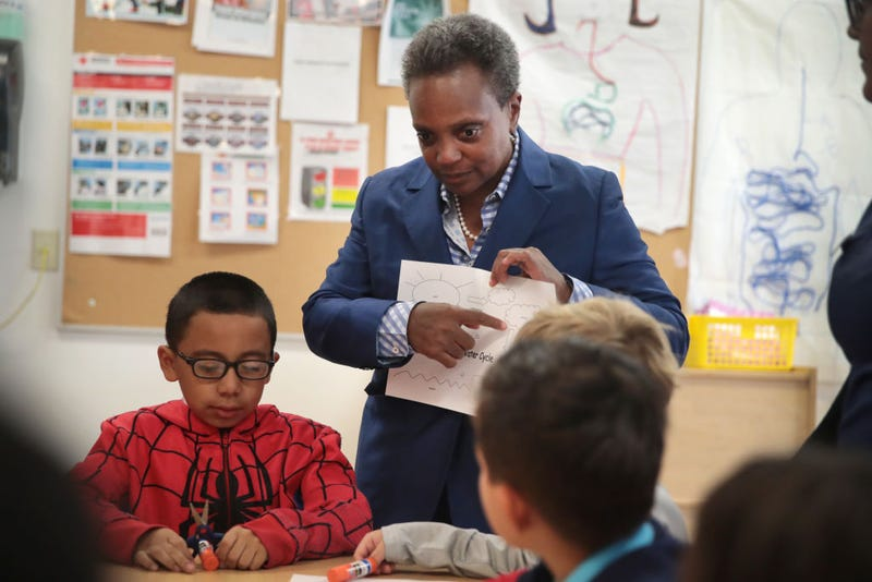 Chicago Mayor Lori Lightfoot visits with children affected by the teachers' strike at the McCormick YMCA on October 17, 2019 in Chicago, Illinois.