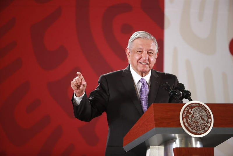 President of Mexico Andres Manuel Lopez Obrador speaks with the press