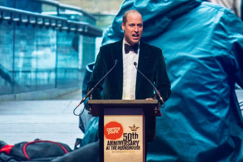 Prince William gives a speech at a gala for Centrepoint, a UK charity that fights youth homelessness.